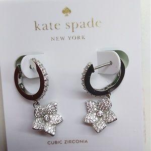 Kate Spade New Silver Loop & Flower Earrings